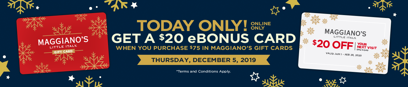 For every $75 in gift cards purchased, receive a $20 eBonus card